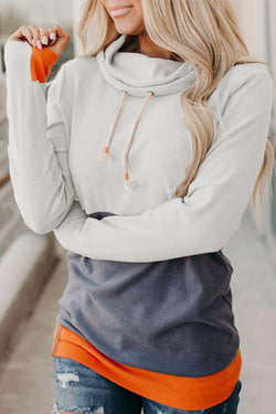 Three-Color Stitching Slim Long Sleeved Pile Neck  Hoodie