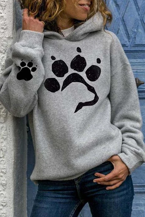 DogPaw Print Hooded Long Sleeve Sweatshirt