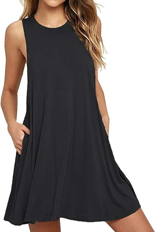 Solid Sleeveless Casual Dress
