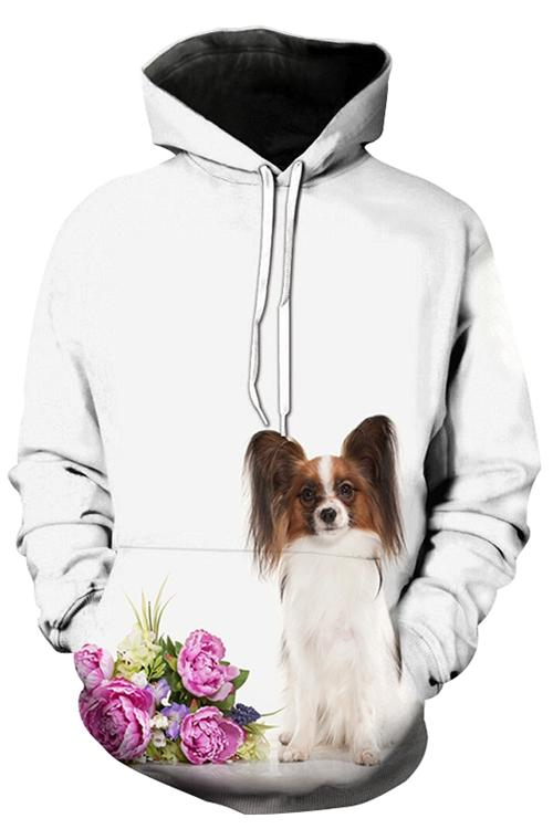 Unisex 3D Graphic Hoodies Animals Dogs Papillon Flowers
