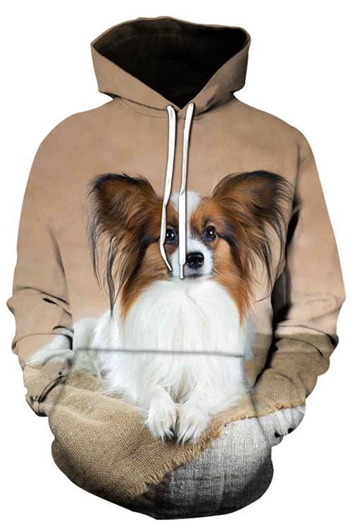 Unisex 3D Graphic Hoodies Animals Dogs Papillon Down