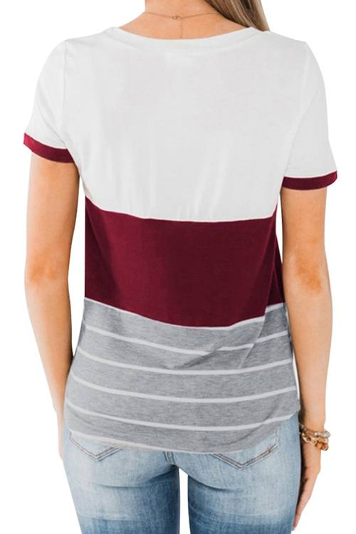 Stitching Pocket Short Sleeved T -Shirt