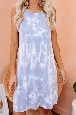 Stylish Round Neck Light Purple Dress