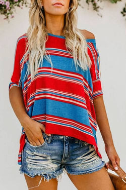 Round Neck Striped Print Blouse