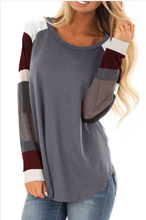 Round Neck And Long Sleeve Color Splicing With Sleeve T - Shirt