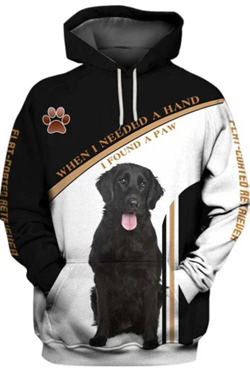 3D Graphic Hoodies  Animals Dogs Flat-Coated Retriever Paw