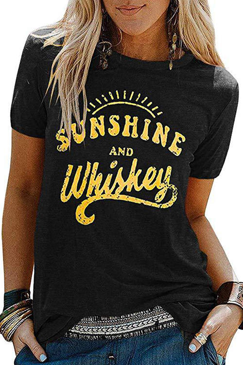 SUNSHIEN AND WHISKEY Printed T-Shirt