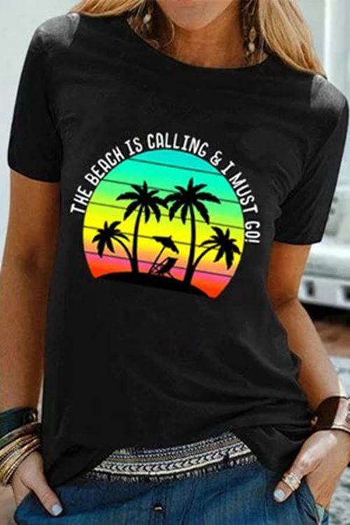 Printed Short Sleeve  Casual T-Shirt
