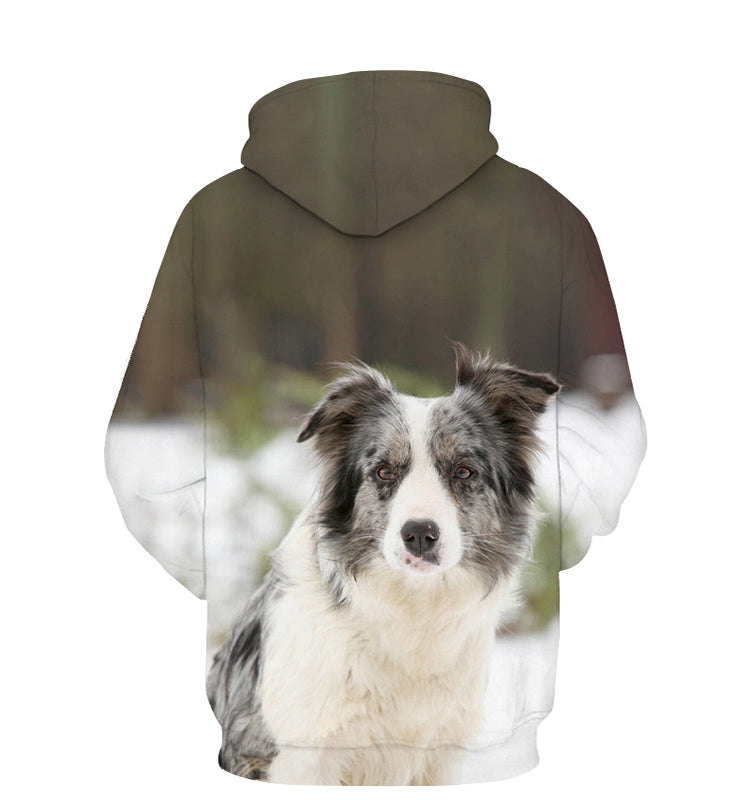 Unisex 3D Graphic Hoodies Animals Dogs Border Collie Sit