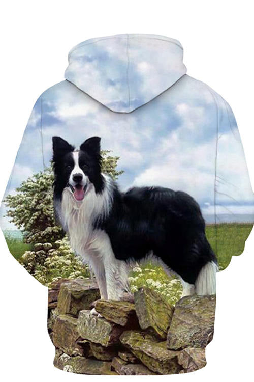 Unisex 3D Graphic Hoodies Animals Dogs Border Collie Black