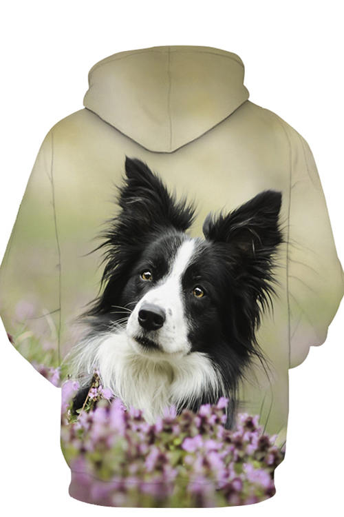 Unisex 3D Graphic Hoodies Animals Dogs Border Collie Tilt Head