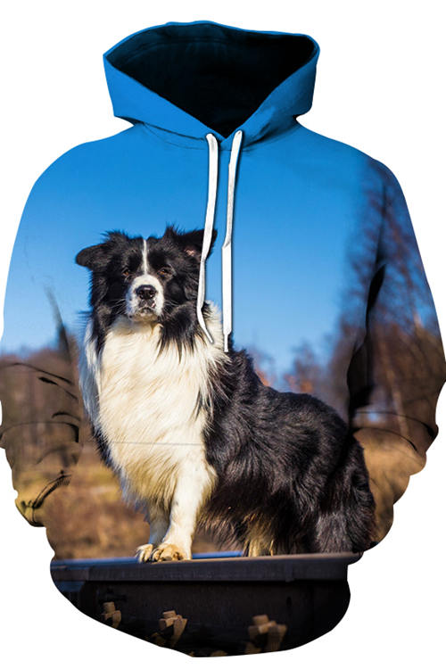 Unisex 3D Graphic Hoodies Animals Dogs Border Collie Tracks