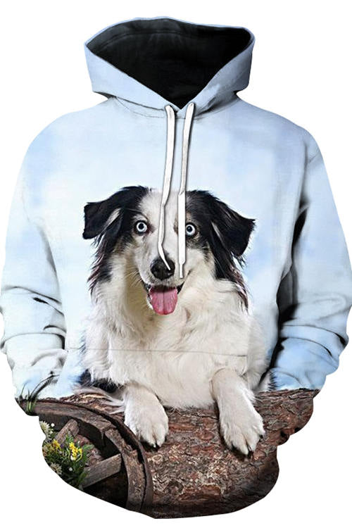3D Graphic Hoodies Animals Dogs Blue Eye Border Collie