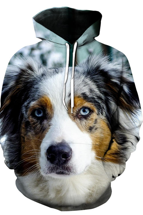 Unisex 3D Graphic Hoodies Animals Dogs Blue Eyed Australian Shepherd