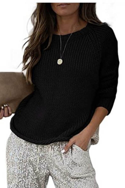Round Neck Thick Needle Casual Knit Sweater
