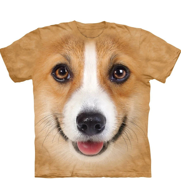 Adult Unisex 3D Short Sleeve T-Shirt Corgi Face