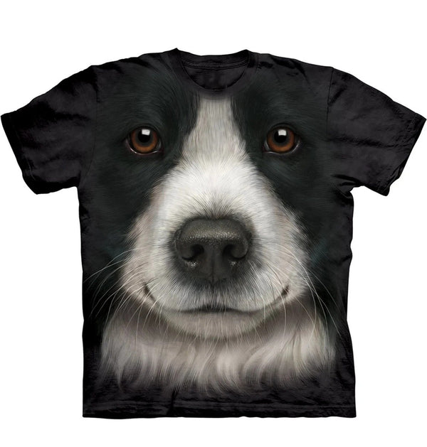 Adult Unisex 3D Short Sleeve T-Shirt Border Collie Face