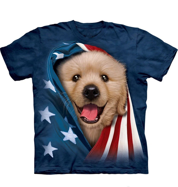 Adult Unisex 3D Short Sleeve T-Shirt Patriotic Golden Pup