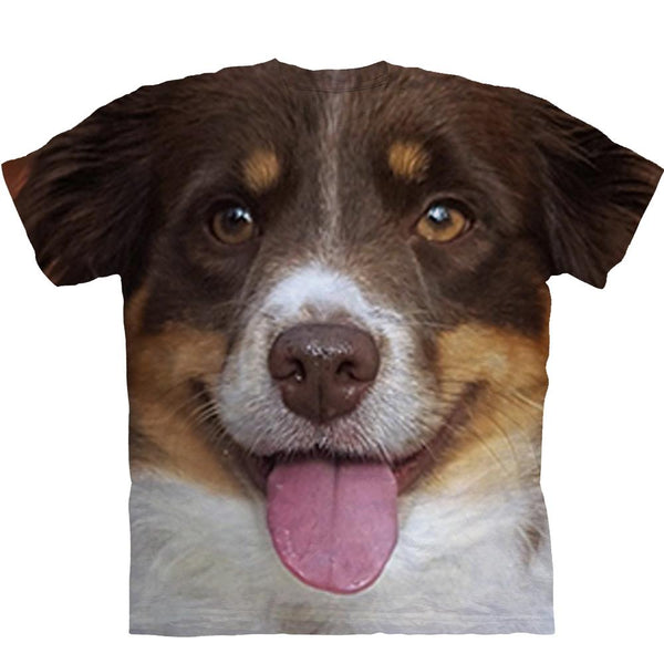 Adult Unisex 3D Short Sleeve T-Shirt Handsome Australian Shepherd Dog