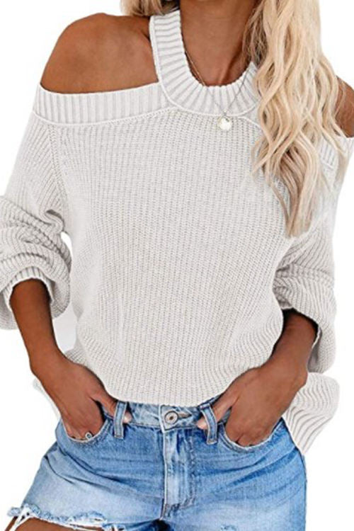 Sexy Off-Shoulder Solid Color Loose Knit Sweater