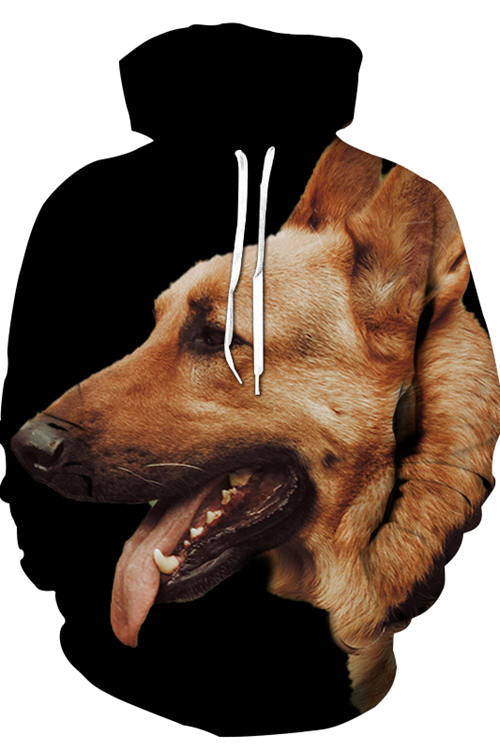 3D Graphic Hoodies Animals Dogs German Shepherd's Side Face