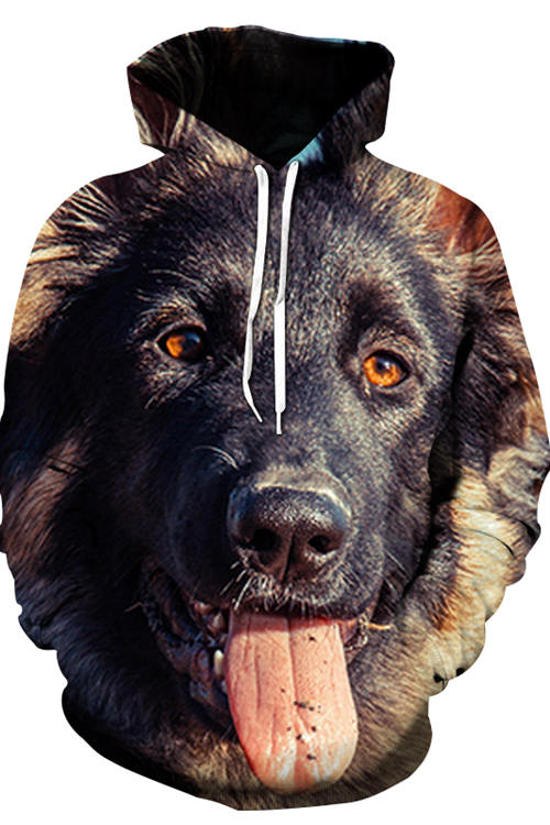3D Graphic Hoodies Animals Dogs Affectionate German Shepherd Dog
