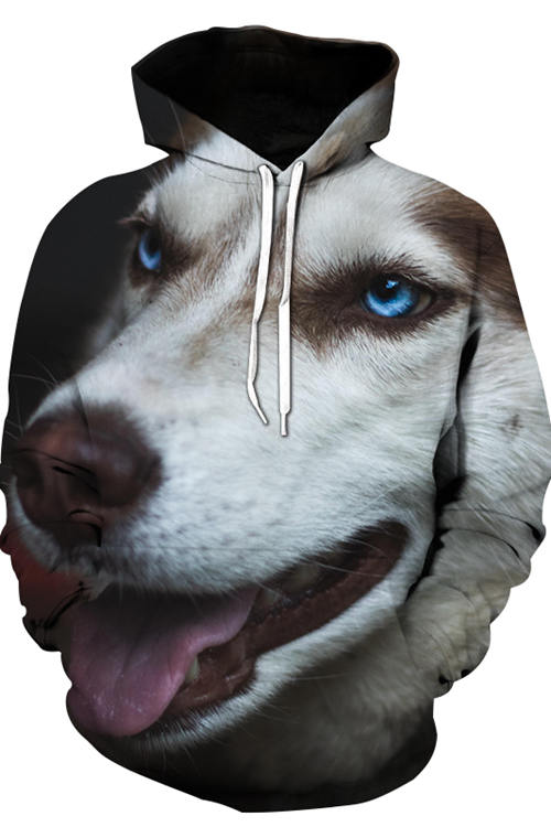 3D Graphic Hoodies Animals Dogs Brown And White Alaskan