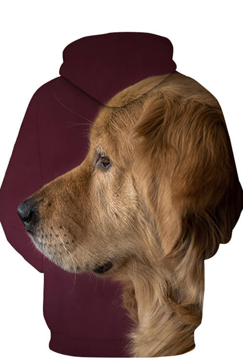 3D Graphic Hoodies Animals Dogs Big Headed Golden Retriever's Side Face