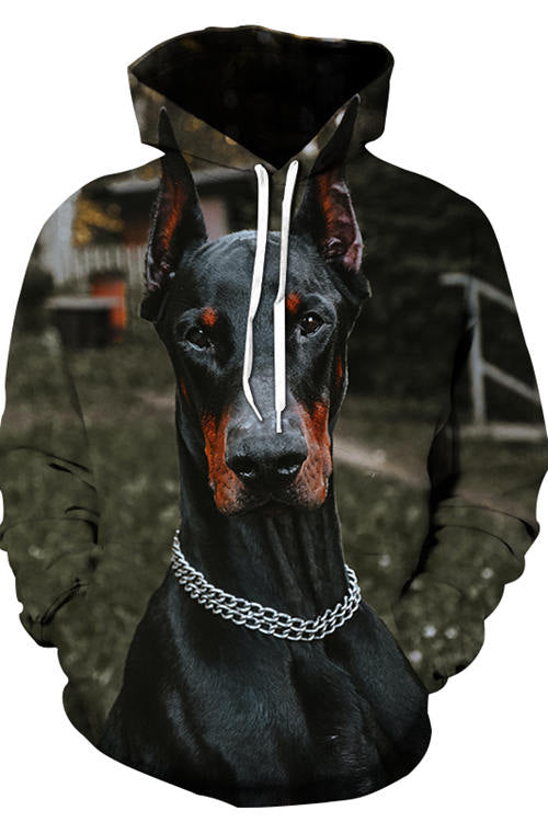 3D Graphic Hoodies Animals Dogs Doberman
