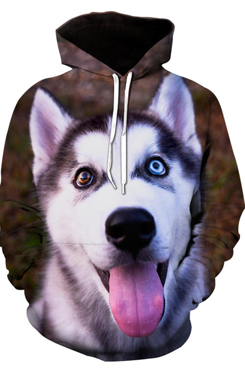 3D Graphic Hoodies Animals Dogs Gray White Husky