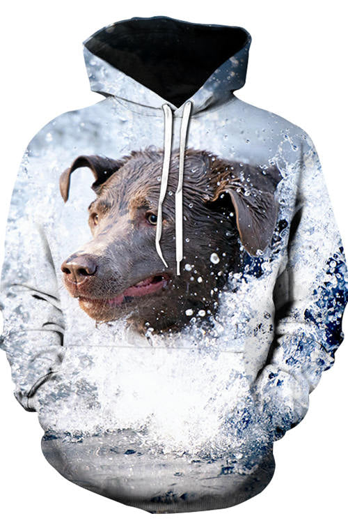 3D Graphic Hoodies Animals Dogs Labradors Surfing