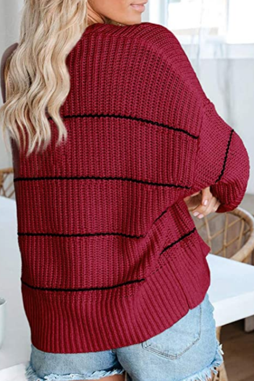 Striped Knitted Sweater Cardigan