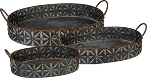 Tray Set - Set of 3 Metal Nesting Trays