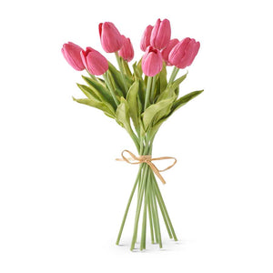 13.5 Inch Fuchsia Real Touch Mini Tulip Bouquet (10 Stems per Bundle)