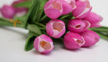 Load image into Gallery viewer, 13.5 Inch Fuchsia Real Touch Mini Tulip Bouquet (10 Stems per Bundle)