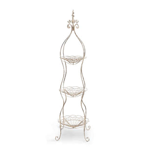 66 Inch Distressed Wire Metal 3 Tiered Stand
