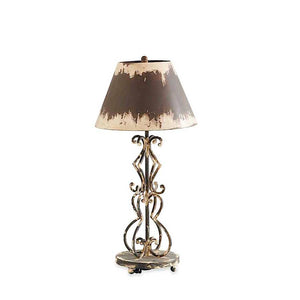 28 Inch Brown & Cream Metal Lamp