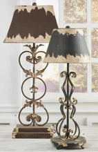 Load image into Gallery viewer, 28 Inch Brown & Cream Metal Lamp