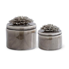 Load image into Gallery viewer, Gray Ceramic Lidded Dishes w/Gray Carnation - Set of two