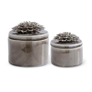 Gray Ceramic Lidded Dishes w/Gray Carnation - Set of two