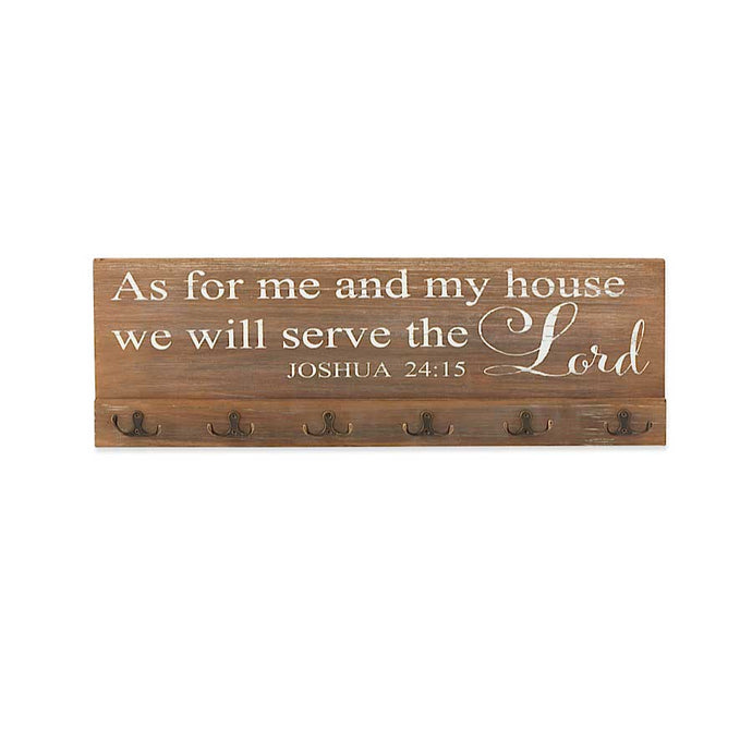 23.5 Inch Brown Wood LORD Wall Sign w/ 6 Hooks