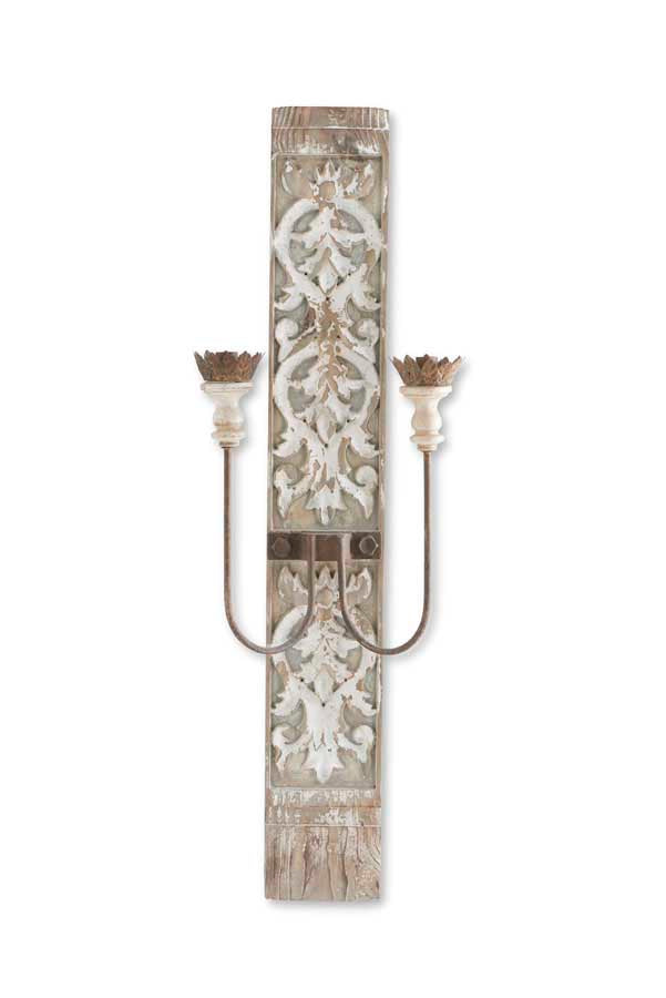 45 Inch Distressed White Carved Wood and Metal 2 Arm Electrical Sconce