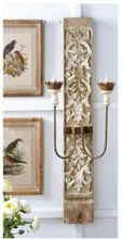 Load image into Gallery viewer, 45 Inch Distressed White Carved Wood and Metal 2 Arm Electrical Sconce