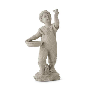 17 Inch Resin Boy With Bird Garden Figure