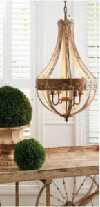 33.25 Inch Pear Shaped Wooden Hanging Light Fixture