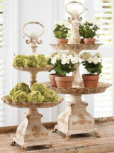Load image into Gallery viewer, 36.5 Inch White and Gold Washed Metal 2 Tiered Tabletop Tray