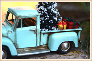 TURQ TRUCK W/TREE - SEASONAL-HOLIDAY