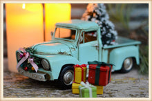 Load image into Gallery viewer, TURQ TRUCK W/TREE - SEASONAL-HOLIDAY