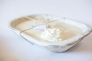River Chic Candles - 3 Wick  Dough Bowl Candle - White