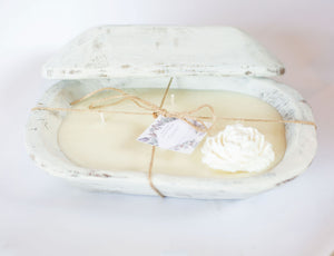River Chic Candles - 5 Wick  Square Dough Bowl Candle - White